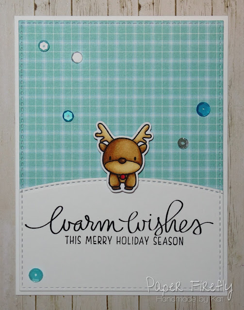 Sweet and simple Christmas card using Reindeer Games  stamps by Mama Elephant