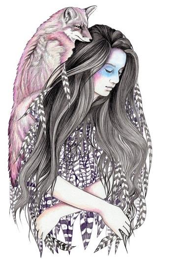 """Red Fox"" by Andrea Hrnjak | dibujos bonitos a lapiz | imagenes lindas | illustration art | lobos"