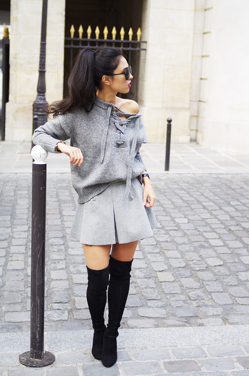 Elizabeth l Sweater weather grey fall outfit l Zara Stuart Weitzman cuissardes l THEDEETSONE l http://thedeetsone.blogspot.fr