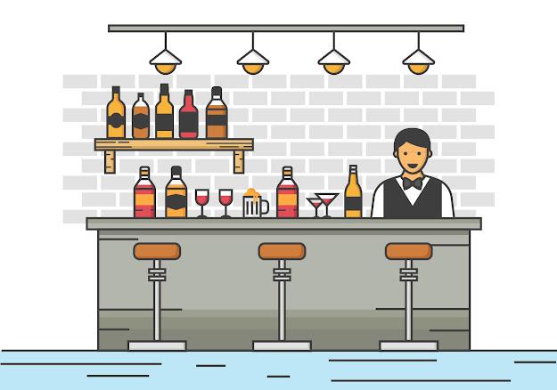 Free Barman Server At The Bar Vector Illustration