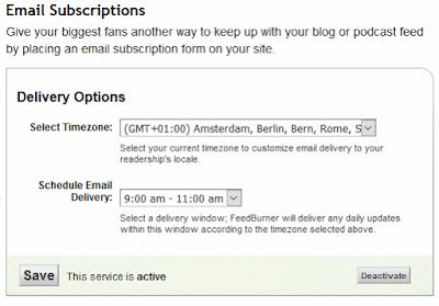 Come cambiare l'orario delle email di FeedBurner