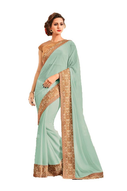 Light Green Embroidery Work Georgette Saree