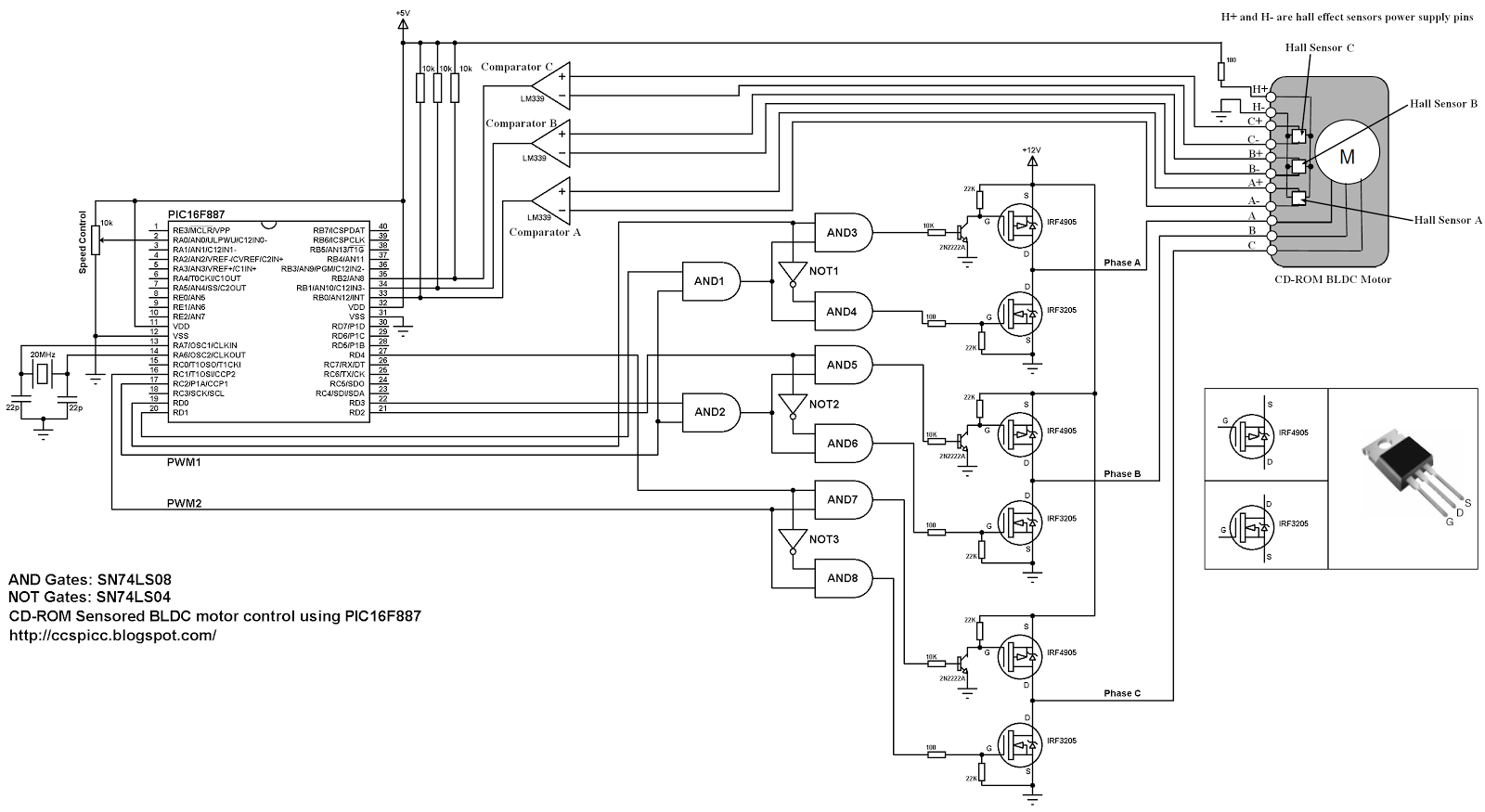 use this circuit to control a cdrom sensored three phase bldc motor