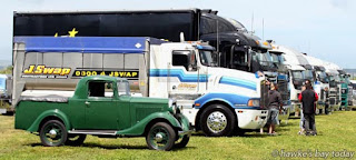 In front is a 1938 Bedford ASXC - Mitre 10 Mega Ride in a Truck Day, raising funds for Trucking for Hawke's Bay Child Cancer Charitable Trust, at the ENZA/Turners and Growers grounds at Whakatu. photograph