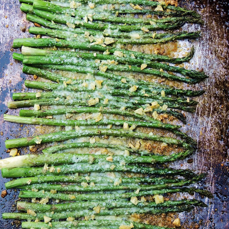 Roasted Asparagus with Garlic and Parmesan - Roasted Asparagus with Garlic and Parmesan - This oven roasted asparagus recipe is easy to make, uses one pan, and is the perfect Keto, LCHF, vegetarian and gluten-free side dish.#keto #LCHF #Lowcarb #sheetpan #asparagus #garlic #Parmesan #cheese #glutenfree #vegetarian #easy #recipe | bobbiskozykitchen.com