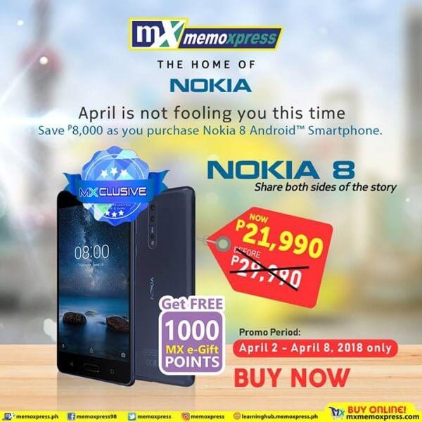 Nokia 8 Drops Price at MemoXpress