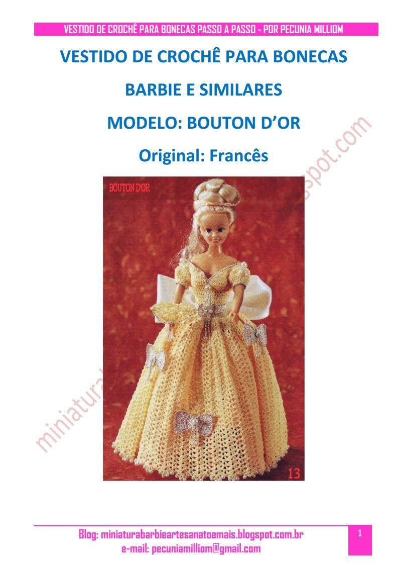 Vestido dA Bela e a Fera em Crochê Para Bonecas Barbie - Passo a Passo