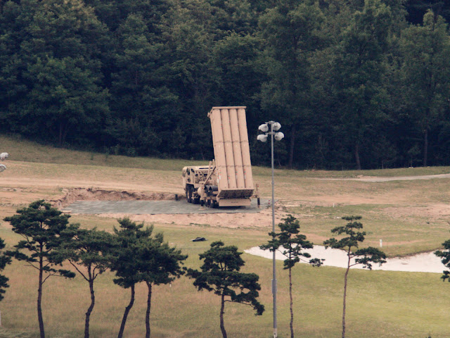 A THAAD interceptor seen on a former golf course in South Korea
