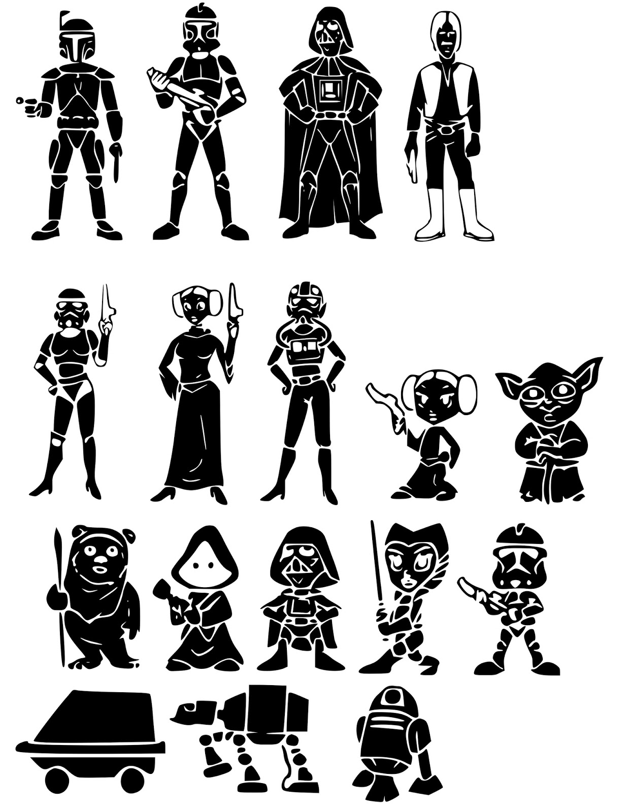Siluetas de los personajes de star wars oh my fiesta friki - Siluetas para imprimir ...