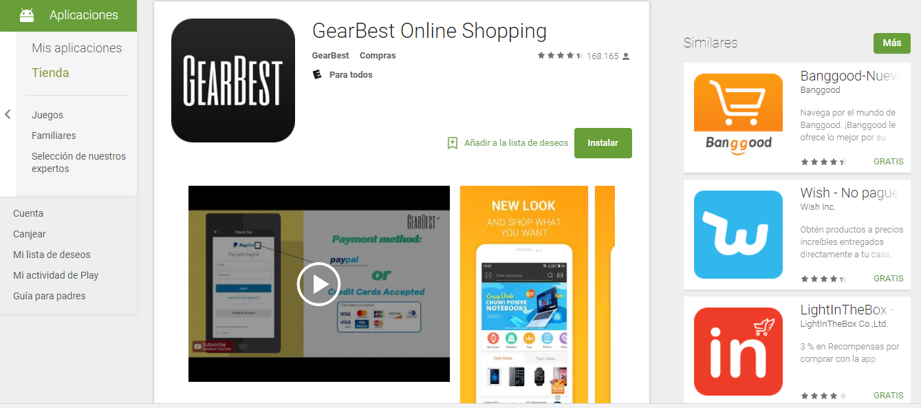 Descarga la tienda Virtual GearBest Online Shopping 3.1.0 en Android