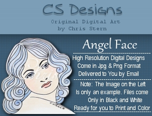 Beautiful Angel Face Victorian Digital Stamp Design