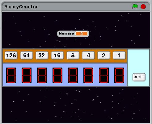 Scratch imparare numeri binari  creato da Simone Bacciglieri