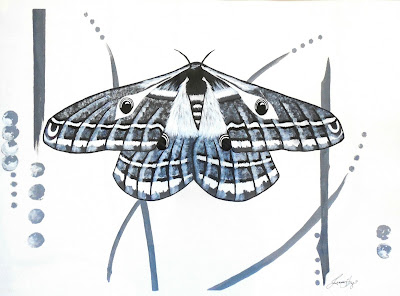 Original Black and White Emperor Moth Painting Framed 18x24