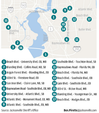 map of red light cameras will be coming to Jacksonville, Florida in January of 2013