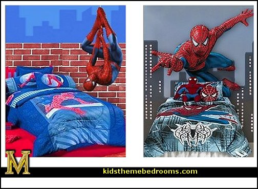Spiderman theme bedroom  spiderman bedroom decorating ideas - spiderman room decor - Spiderman rooms - superhero bedrooms - Spider web curtains  - spiderweb bedding - Marvel Heroes wall murals -  Avengers wallpaper murals -  superhero theme bedrooms