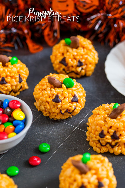 pumpkin rice krispie treats easy Halloween recipe