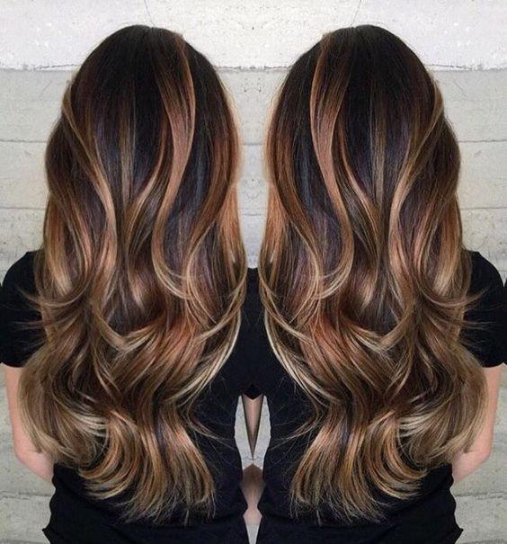 Flattering Caramel Highlights On Dark Brown Hair Hair
