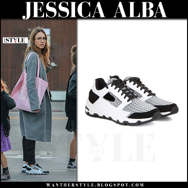 Jessica Alba in black and white sneakers opening ceremony almma and grey coat what she wore