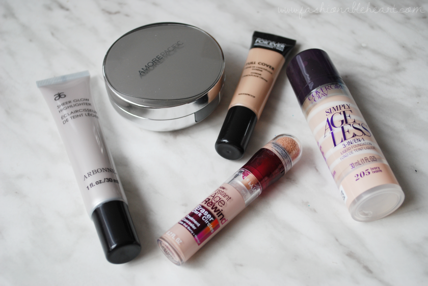 bbloggers, bbloggersca, canadian beauty bloggers, 2016 beauty favorites, faves, favourites, base, amore pacific, color correct, cushion compat, mufe, full cover concealer, covergirl, simply ageless, foundation, maybelline, instant age rewind eraser, arbonne, sheer glow, highlighter