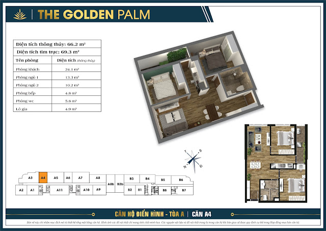 Căn A4 - 66m - The Golden Palm