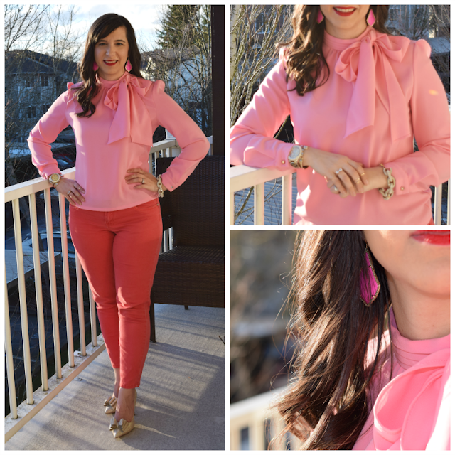 Teacher Valentine's Day Outfit Bow blouse and Bow Heels