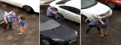 pelea pareja en un aparcamiento en Rusia