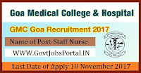 Goa Medical College & Hospital Recruitment 2017– 68 Multi Tasking Staff, Staff Nurse