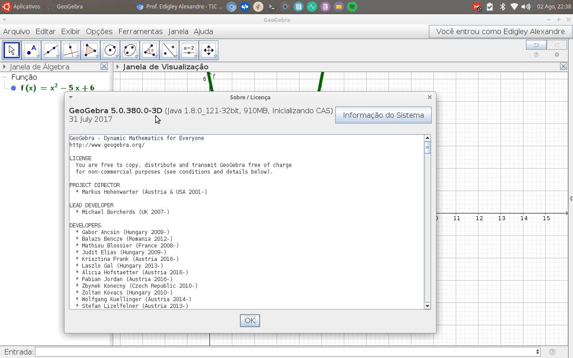 GeoGebra 5 instalado com sucesso