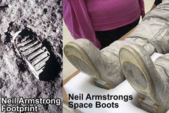Botas e pegada Astronautas MIssão Lunar Apollo 11
