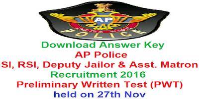 AP Police SI RSI Jailor Matron PWT Key 2016