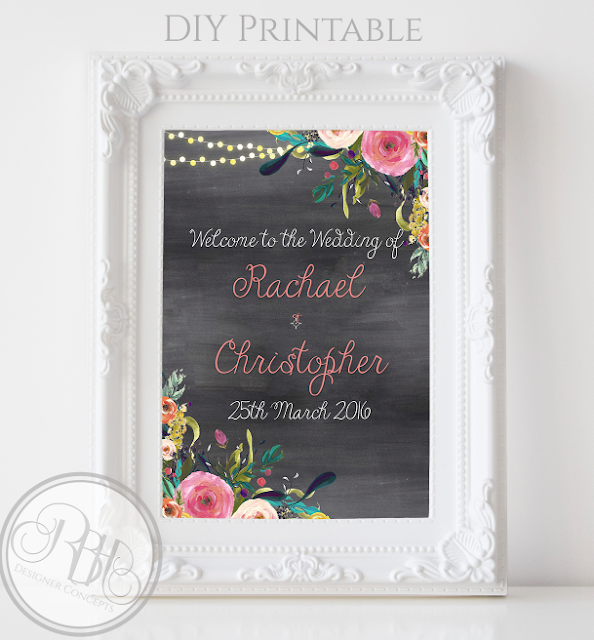 watercolour boho wedding welcome sign by rbhdesignerconcepts.com