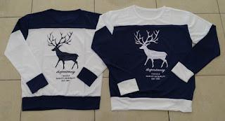 Jual Online Sweater Moose Navy White Couple Murah di Batam Bahan Babytery Terbaru
