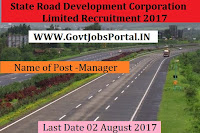 Maharashtra State Road Development Corporation Limited Recruitment 2017– Manager