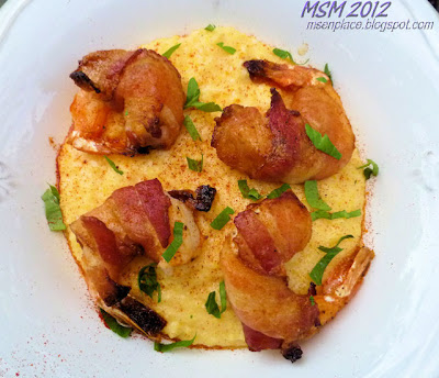 Blackened Bacon Shrimp & Cheesy Garlic Grits
