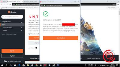 Nah nantinya akan muncul tuisan Welcome, artinya kalian suda berhasil membuat dan mendaftar akun Origin lewat website Origin