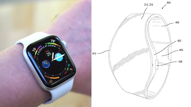 Apple Watch with flexible strap strap zipped in MicroLED patent