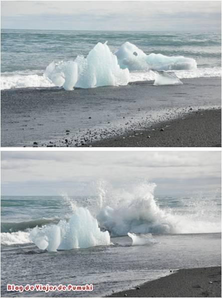 Los icebergs mas pequeños caen del lago glaciar de Jokusarlón y caen al mar donde se derriten