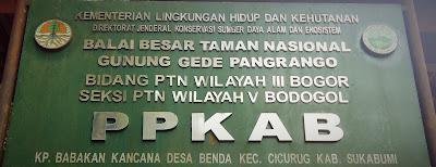 Plang Balai Besar Taman Nasional Gunung Gede Pangrango Bogor