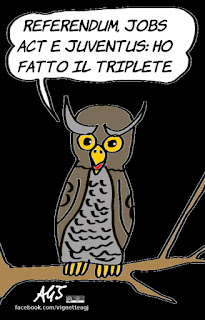 gufi, Champions League, juventus, jobs act, referendum costituzionale, vignetta, satira