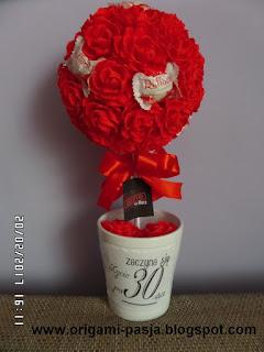krepa włoska, bibuła, drzewko, kwiaty, róże , na urodziny