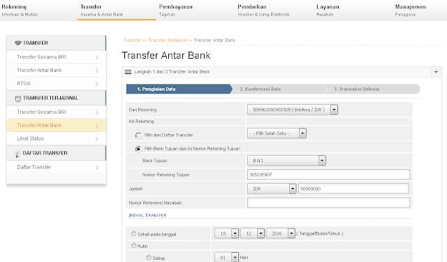 transfer uang bri ke bni