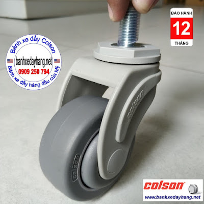 Bánh xe cao su càng nhựa Colson cọc vít phi 75 3inch   STO-3854-448 banhxedaycolson.com