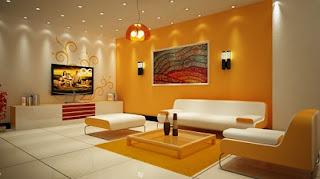 decoración sala naranja y blanco