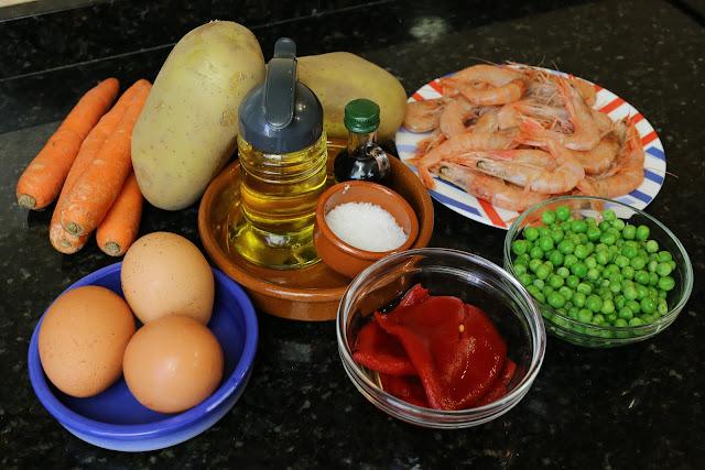 Ingredientes para ensaladilla de gambas