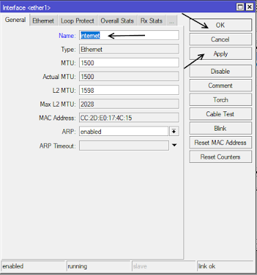 Mengganti Nama Interface Mode GUI
