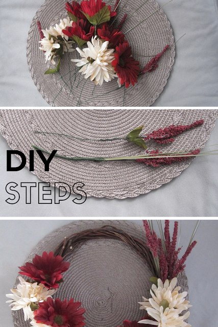 DIY Steps for making your own $5 floral wreath