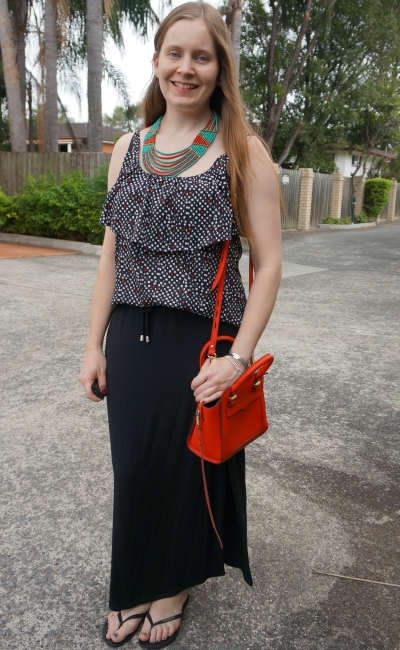 polka dot cami maxi skirt with red and green statement beaded necklace red avery bag | awayfromblue