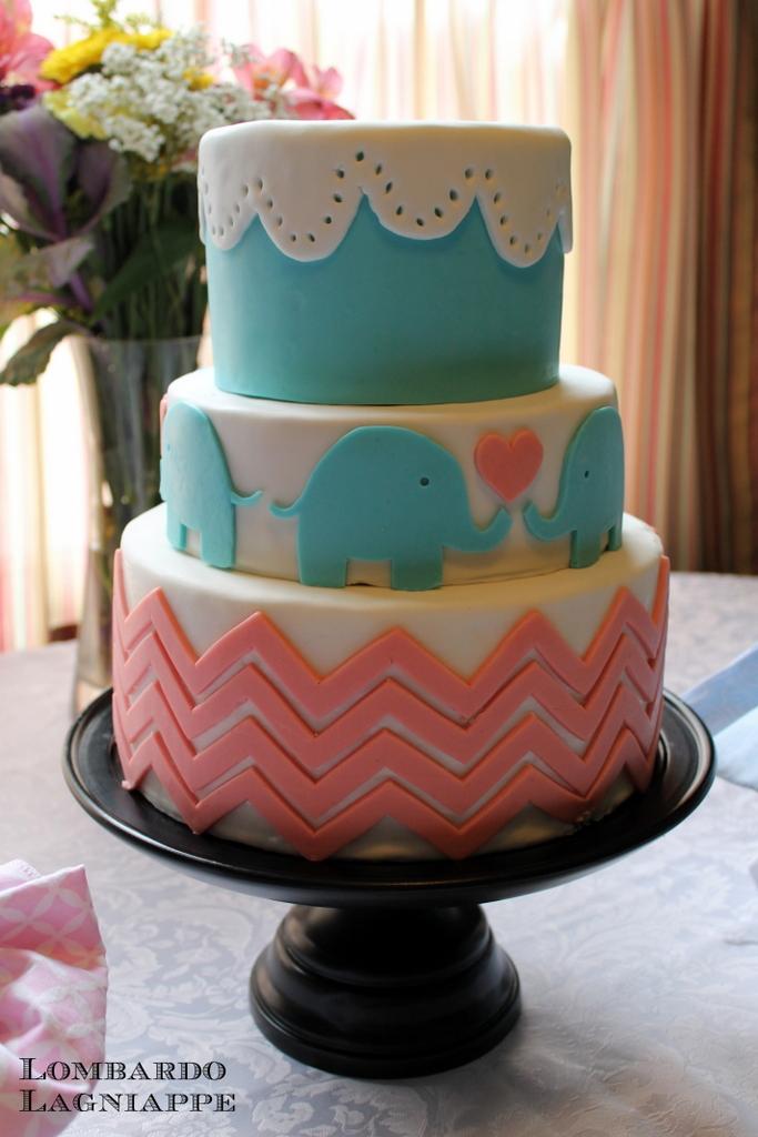 Lombardo Lagniappe Elephant Baby Shower Cake