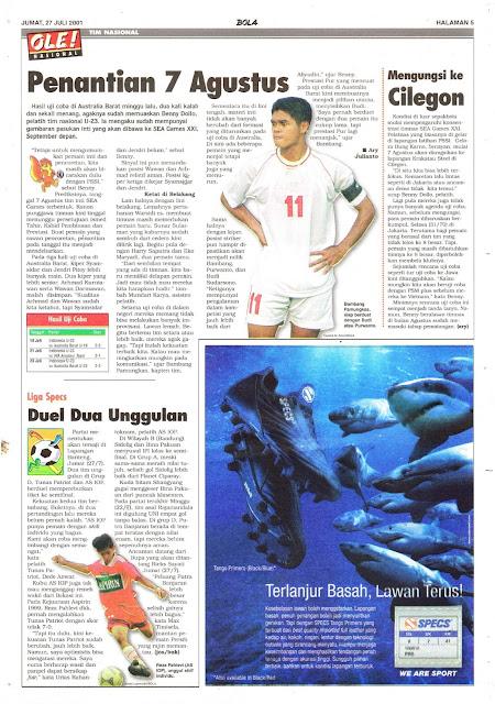 BERITA SEPAKBOLA INDONESIA TIM NASIONAL 2001