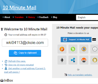 10 minute email home page allhindiway.com